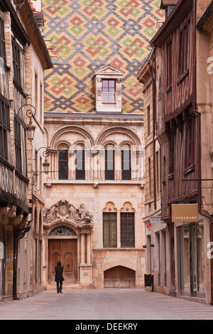 The streets of old Dijon and Hotel Aubriot, Dijon, Burgundy, France, Europe - Stock Photo