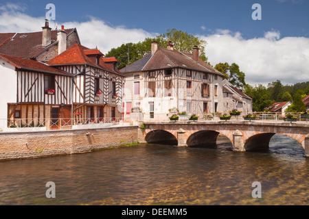 Half timbered houses in the village of Essoyes, Aube, Champagne-Ardennes, France, Europe - Stock Photo