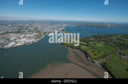 Plymouth and Mount Edgecombe and River Tamar, Devon, England, United Kingdom, Europe - Stock Photo