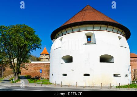 thick tower in sibiu, Transylvania, Romania - Stock Photo