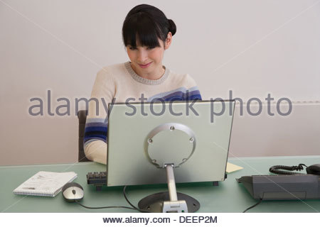Businesswoman on computer in an office - Stock Photo