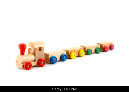 wooden toy train isolated on white background - Stock Photo