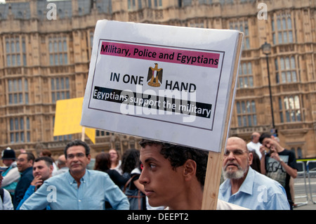 Egyptian Pro-Government Pro-Army  protesters in London August 2013 - Stock Photo
