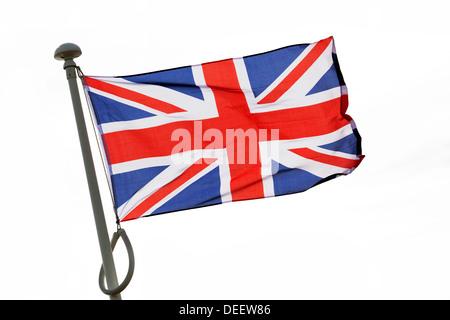 Union Jack flag flying cut out, UK - Stock Photo
