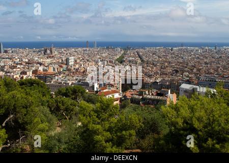Skyline of Barcelona from Park Güell - Stock Photo