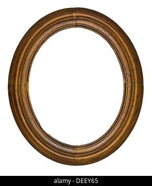 vintage wooden oval frame isolated over white background, clipping path - Stock Photo