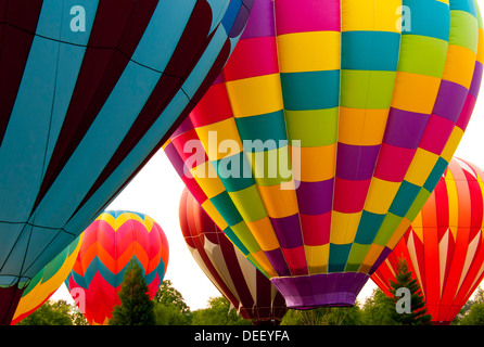Colorful hot air balloons taking off during the Spirit of Boise Balloon Festival, City of Boise, Boise, Idaho - Stock Photo