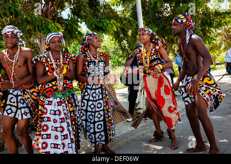 Africa, Angola, Benguela. Group dancing in traditional dress. - Stock Photo