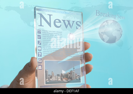 Transparent Mini Computer Tablet Phone of the Future - Stock Photo