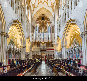 Interior of Wells Cathedral, Wells, Somerset, England, UK - Stock Photo