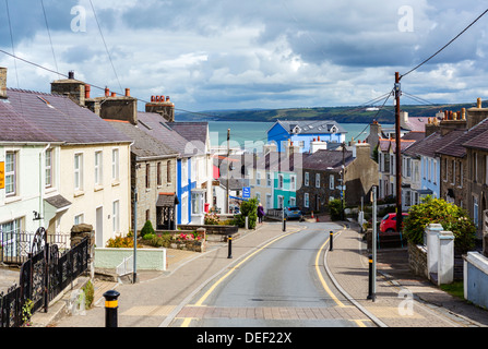 View down Church Street towards the habour, New Quay, Ceredigion, West Wales, UK - Stock Photo