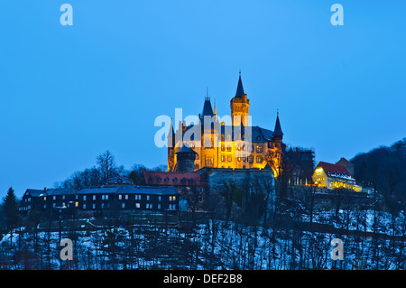 castle in wernigerode, germany, at night - Stock Photo