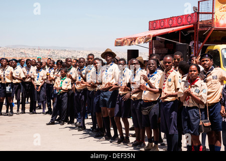 Africa, Angola, Lobito. Scouts in uniform gathered in Lobito. - Stock Photo