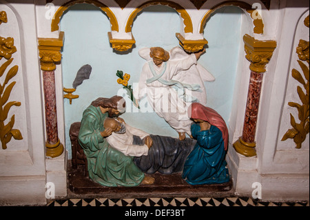 Africa, Angola, Luanda. Biblical scene in the Church of Our Lady of the Remedies. - Stock Photo
