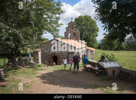 The chapel of St Roch near Montbonnet on the GR65 walking route the Way of St James in the Auvergne region of France - Stock Photo