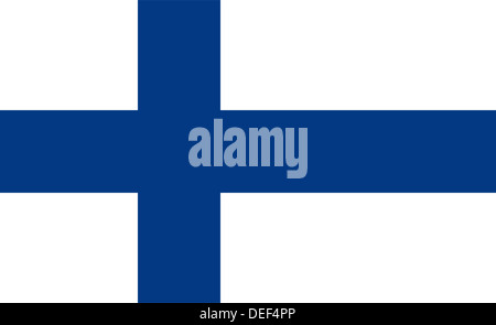 Finnish flag of Finland - Proportions: 18:11 - Colours: Blue 294 C, White - Stock Photo