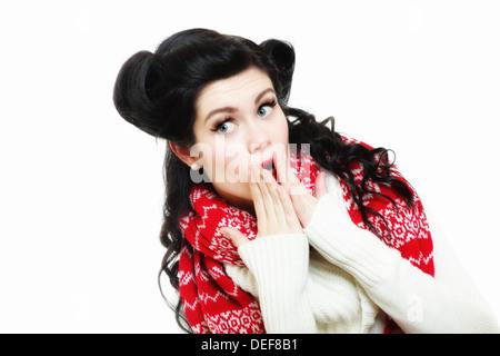 winter fashion portrait brunette woman retro hairstyle in warm clothing vintage photo studio shot - Stock Photo