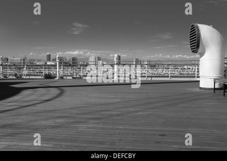 Deck of RMS Queen Mary, Long Beach California - Stock Photo