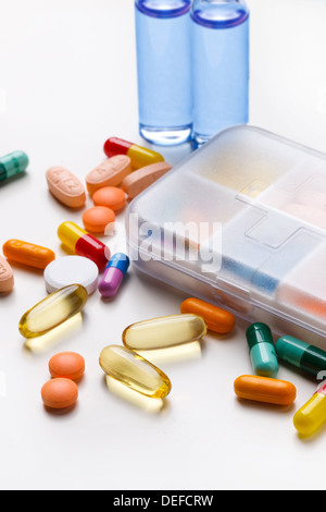 Boxes containing various tablets - Stock Photo