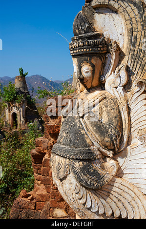Shwe Inn Thein temple, Inn Dein village, Inle Lake, Shan State, Myanmar (Burma), Asia - Stock Photo