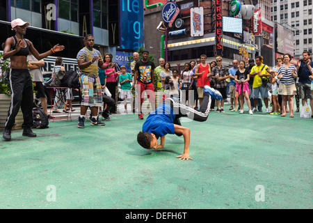Street dance performance in Times Square, New York City, New York, United States - Stock Photo