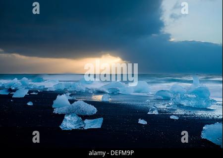 Icebergs on Beach, Jokulsarlon, Iceland, Polar Regions - Stock Photo