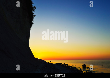 Sunrise at the chalk cliffs, Jasmund National Park, Ruegen Island (Rugen Island), Mecklenburg-Vorpommern, Germany, - Stock Photo