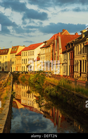Evening scene in the old town of Wismar, Mecklenburg-Vorpommern, Germany, Baltic Sea, Europe - Stock Photo