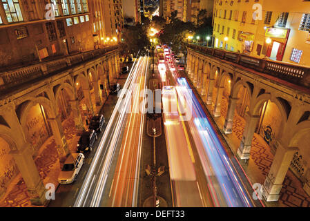 Brazil, Rio Grande do Sul, Porto Alegre, night, view, Viaduto Borges de Medeiros, street, traffic, cars, nocturnal - Stock Photo