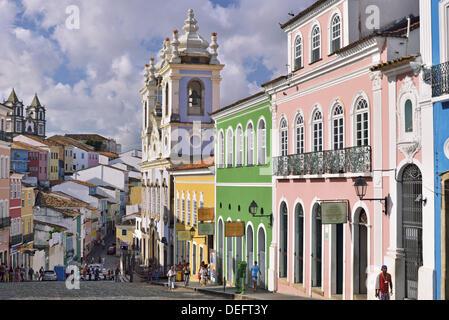 Brazil, Bahia, Salvador da Bahia, Pelourinho, historical center, Unesco World Heritage, houses, buildings, colonial - Stock Photo