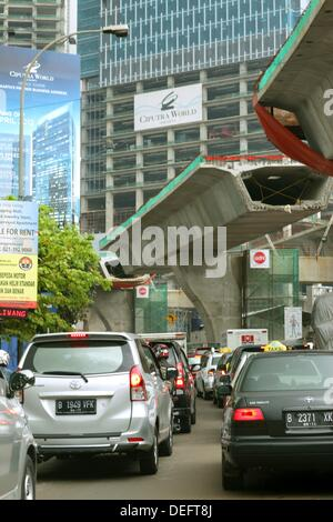 Traffic jam, Jakarta, Indonesia, Asia - Stock Photo