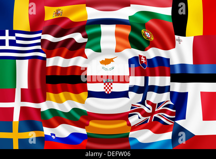 National flags of the EU member states - Stock Photo