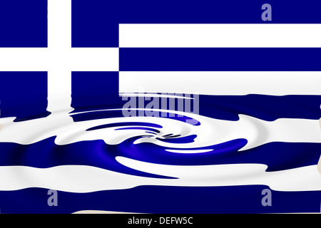 The sinking Flag of Greece, Europe - Stock Photo