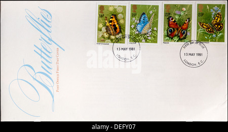 Post Office First Day Cover celebrating British Butterflies. - Stock Photo