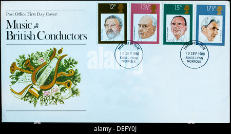 Post Office First Day Cover celebrating British Conductors. - Stock Photo