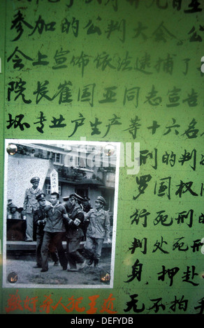 Poster of criminal arrest in China during the Cultural Revolution - Stock Photo