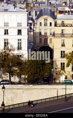 Aerial view of Pont de Sully and rooftops. Paris. France - Stock Photo