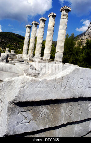 Remains of the Temple of Athena with inscription. Priene. Turkey - Stock Photo