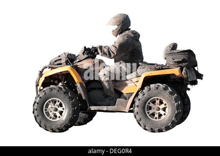 Dirty off-road yellow ATV with rider isolated on white background - Stock Photo
