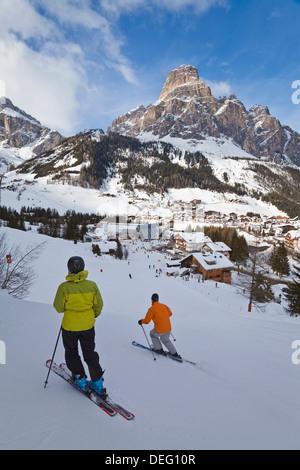 Corvara village in the Sella Ronda ski area, Val Gardena, Dolomites, South Tirol, Trentino-Alto Adige, Italy, Europe - Stock Photo