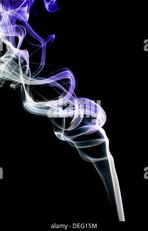 Abstract violet smoke. Isolated on a black background - Stock Photo