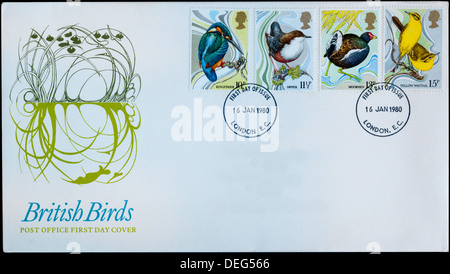 Post Office First Day Cover celebrating British Birds. - Stock Photo