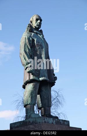 Statue of Roald Amundsen, famous Norwegian explorer, in main square of Tromso, Troms, Norway, Scandinavia, Europe - Stock Photo