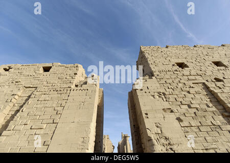 Temple of Karnak, Old Thebes. Luxor city. Egypt/ The first pylon built by the Ethiopian kings (656 BC). The temple - Stock Photo