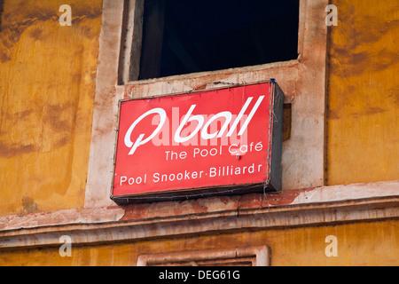 Close-up of a sign board, Q Ball Pool Snooker, Mapusa, North Goa, Goa, India - Stock Photo