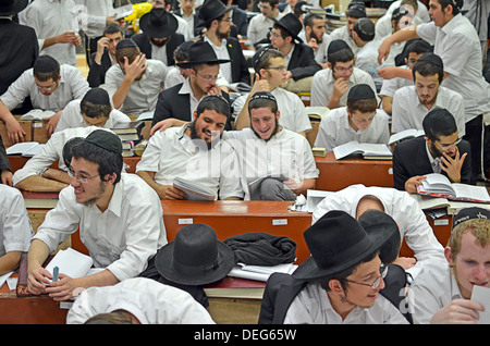Orthodox Jewish boys studying at Lubavitch headquarters in the Crown Heights section of  Brooklyn, New York - Stock Photo