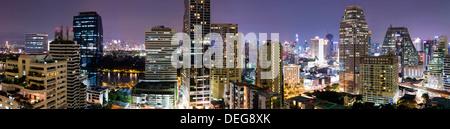 Panoramic view of Bangkok at night from Rembrandt Hotel and Towers, Sukhumvit 18, Bangkok, Thailand, Southeast Asia, - Stock Photo