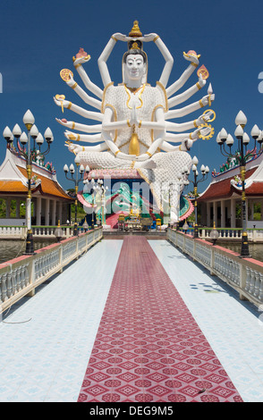 Giant Buddhist statue at Wat Plai Laem, Koh Samui, Thailand, Southeast Asia, Asia - Stock Photo