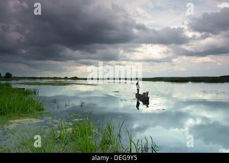 Biebrza river in Biebrza National Park (Biebrzanski Park Narodowy). Podlasie region. Poland - Stock Photo
