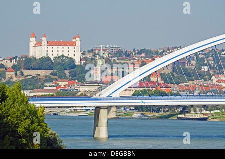 Apollo Most bridge, Bratislava Castle, Danube River, Bratislava, Slovakia, Europe - Stock Photo